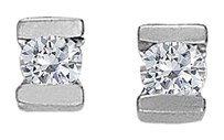 LoveBrightJewelry April Birthstone Channel Set Diamonds Earrings in 14K White Gold