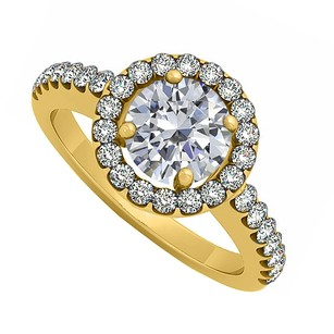 LoveBrightJewelry April Birthstone Cubic Zirconia 18k Yellow Gold Vermeil Halo Engagement Ring 1.50 Ct Tgw