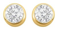 LoveBrightJewelry April Birthstone Cubic Zirconia Bezel Stud Earrings in 18kt Yellow Vermeil Gold 2.00 CT TGW