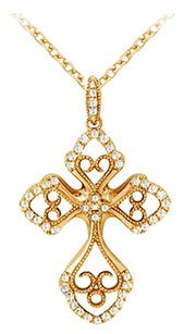 LoveBrightJewelry April Birthstone Cubic Zirconia Cross and Heart Pendant in 18K Yellow Gold Vermeil on 925 Silver