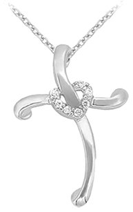 LoveBrightJewelry April Birthstone Cubic Zirconia Cross and Heart Pendant in 925 Sterling Silver