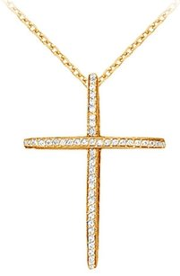 LoveBrightJewelry April Birthstone Cubic Zirconia Cross Pendant in 18K Yellow Gold Vermeil 0.50 CT TGW