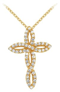 LoveBrightJewelry April Birthstone Cubic Zirconia Twisted Cross Pendant in 18K Yellow Gold Vermeil over 925 Silver