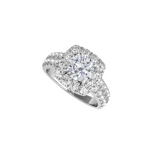 LoveBrightJewelry April Birthstone CZ Halo Ring in 925 Sterling Silver