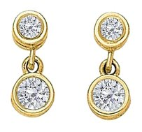 LoveBrightJewelry April Birthstone Diamonds Bezel Set Earrings in 14K Yellow Gold