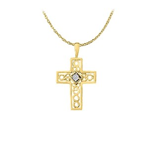 LoveBrightJewelry April Birthstone Diamonds Cross Pendant in 14K Yellow Gold