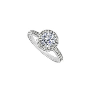 LoveBrightJewelry April Birthstone Round Cubic Zirconia Engagement Ring In 14k White Gold