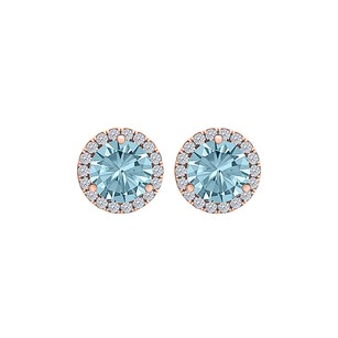 LoveBrightJewelry Aquamarine CZ Perfect Round Earrings 14K Gold Vermeil
