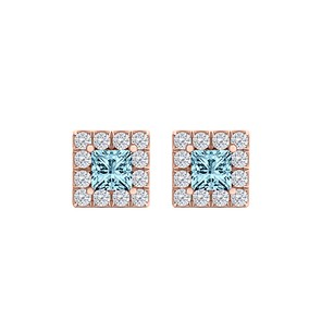 LoveBrightJewelry Aquamarine CZ Perfect Square Earrings 14K Gold Vermeil