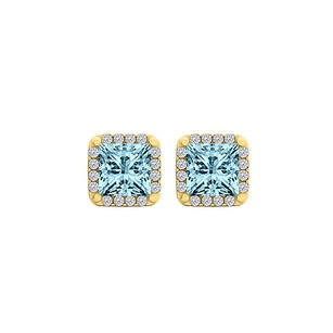 LoveBrightJewelry Aquamarine CZ Square Stud Earrings Yellow Gold Vermeil