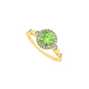 LoveBrightJewelry August Birthstone Round Peridot And Cubic Zirconia Engagement Ring In 18k Yellow Gold Vermeil