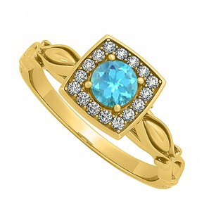 LoveBrightJewelry Awesome Blue Topaz And Cubic Zirconia Engagement Ring