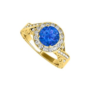 LoveBrightJewelry Beautiful Sapphire Cubic Zirconia Twisted Shank Ring