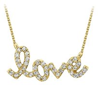 LoveBrightJewelry Beautifully Designed Cubic Zirconia and 18K Yellow Gold Vermeil Love Pendant with Free Chain