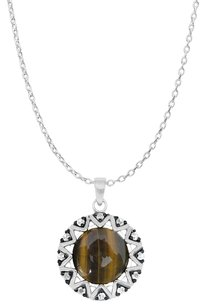 LoveBrightJewelry Bezel Set Tiger Eye and White Topaz Pendant in Silver