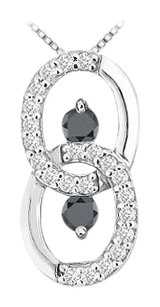 LoveBrightJewelry Black and White Diamond Circle Pendant 14K White Gold 1.00 CT Diamonds
