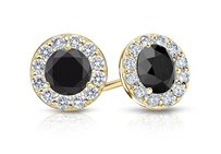 LoveBrightJewelry Black And White Diamond Halo Stud Earrings In 14k Yellow Gold 1.00.ct.tw