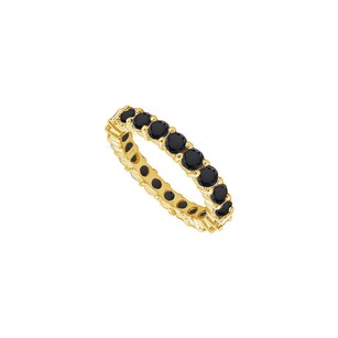 LoveBrightJewelry Black Diamond Eternity Band 14k Yellow Gold 2.00 Ct Diamonds