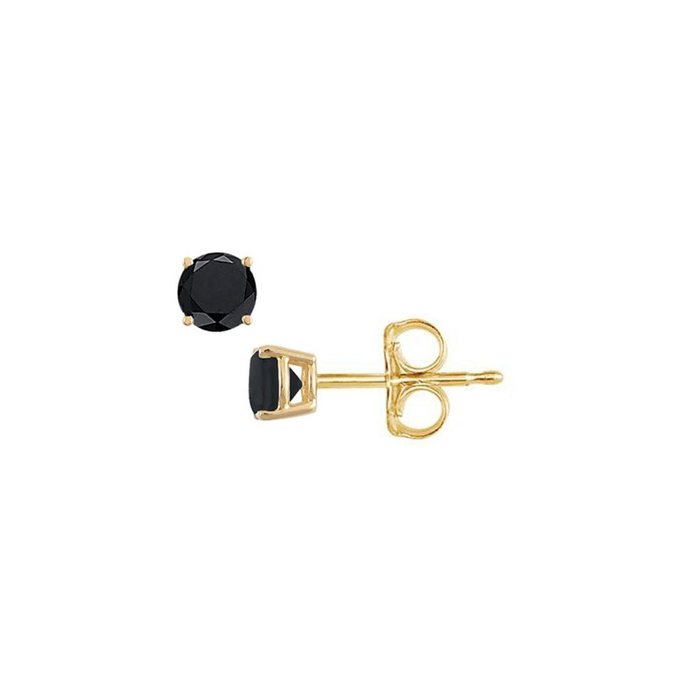 Earrings For Her Lovebrightjewelry Black Diamond Studs 14k Yellow Gold  Push Back