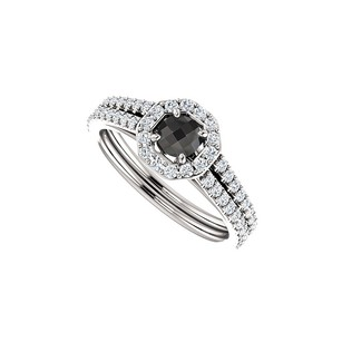 LoveBrightJewelry Black Onyx And Double Row Of Cz Halo Ring In 925 Silver
