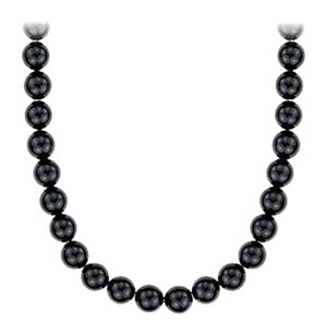 LoveBrightJewelry Black Onyx Necklace with 36 Inch Long in 14K White Gold 10 MM