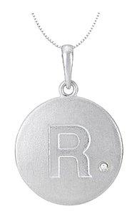 LoveBrightJewelry Block Initial R in 925 Sterling Silver Rhodium Plating Disc with CZ Initial Pendant