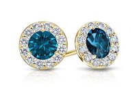 LoveBrightJewelry Blue And White Diamond Halo Stud Earrings In 14k Yellow Gold 1.00.ct.tw