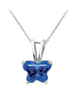 LoveBrightJewelry Blue CZ Petite Baby Charm Butterfly Design in Sterling Silver Necklace for September Birthstone.