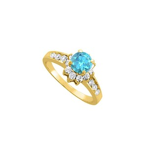 LoveBrightJewelry Blue Topaz And Cz 18k Yellow Gold Vermeil Ring