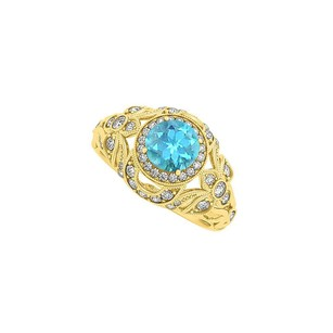 LoveBrightJewelry Blue Topaz and CZ Filigree Ring in Yellow Gold Vermeil