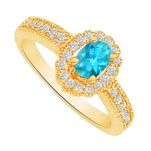 LoveBrightJewelry Blue Topaz And Cz Halo Ring In 18k Yellow Gold Vermeil