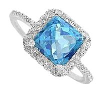 LoveBrightJewelry Blue Topaz and CZ Ring in Sterling Silver