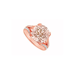 LoveBrightJewelry Bold Four Prong Set Morganite With Cubic Zirconia In Split Shank 14k Rose Gold Engagement Ring
