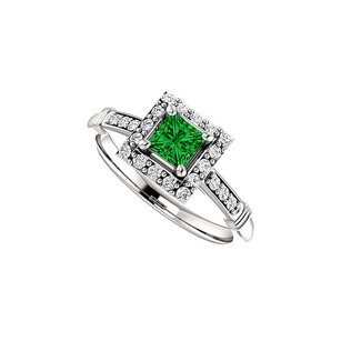LoveBrightJewelry Bold Square Emerald CZ Halo Ring in 14K White Gold