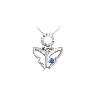 LoveBrightJewelry Butterfly Pendant Necklace with Sapphire and Diamond 0.15 CT TGW