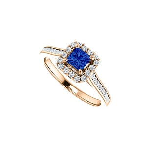 LoveBrightJewelry Channel Set CZ Accented Sapphire Halo Ring Rose Gold