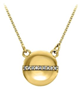 LoveBrightJewelry Circle Necklace with Row of CZ in Center Gold Vermeil