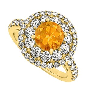 LoveBrightJewelry Citrine And Cubic Zirconia Engagement Ring 2.00 Tgw