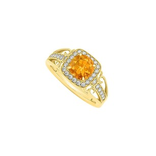 LoveBrightJewelry Citrine And Cubic Zirconia Filigree Engagement Ring
