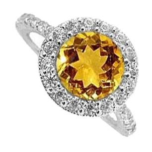 LoveBrightJewelry Citrine and Cubic Zirconia Ring in 925 Sterling Silver