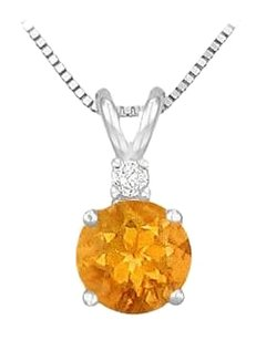 LoveBrightJewelry Citrine and Cubic Zirconia Solitaire Pendant 925 Sterling Silver 2.00 CT TGW