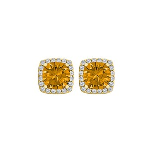 LoveBrightJewelry Citrine and CZ Halo Stud Earrings Yellow Gold Vermeil