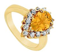 LoveBrightJewelry Citrine and Diamond Ring 14K Yellow Gold 1.50 CT TGW