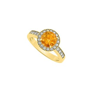 LoveBrightJewelry Citrine November Birthstone With Cubic Zirconia Halo Engagement Ring 18k Yellow Gold Vermeil