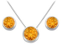 LoveBrightJewelry Citrine Pendant and Stud Earrings Set in Sterling Silver 2.00 CT TGW