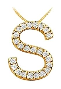 LoveBrightJewelry Classic S Initial Cubic Zirconia Pendant 18K Yellow Gold Vermeil 0.35 CT CZs