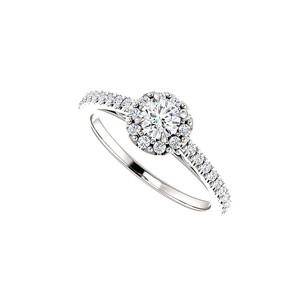 LoveBrightJewelry Classy And Elegant Cubic Zirconia Halo Ring In Silver