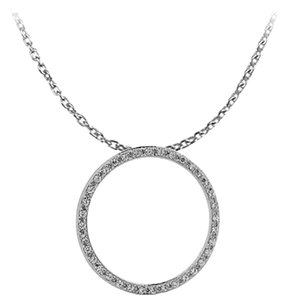 LoveBrightJewelry Conflict Free CZs Circle Pendant with Free Chain Offer