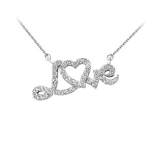 LoveBrightJewelry Conflict Free Diamond Love Pendant In 14k White Gold With Attached Free Chain Stunning Design