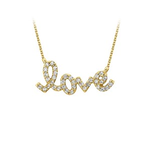 LoveBrightJewelry Conflict Free Diamond Love Pendant in 14K Yellow Gold